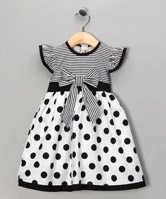 Loving this Black Polka Dot Stripe Dress - Toddler & Girls on #zulily! #zulilyfinds