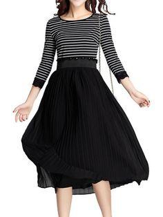 Stripes Patch Chiffon Elastic Waist Long Dress