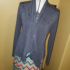 Grey studded cardigan This is a grey studded cardigan, long sleeve in excellent condition worn maybe once.  Maxi skirt also available in my store.  Bundle for discount hip Tops Blouses