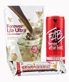 Forever Lite Ultra with Aminotein to help you to maintain a healthy diet and lifestyle. Forever Fast Break energy bar contains at least 50% of the UK RDA for vitamins and minerals for when you are too busy to stop for a meal! FAB - Forever active boost - only 100 calories per can!