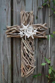 Driftwood Seashell Cross by MyHoneypickles