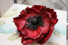 "Leather Flower Brooch ""Poppy"" $95"