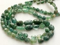 Emerald Beads Natural Emerald Plain Oval Nuggets by gemsforjewels