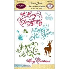 JustRite Clear Stamp - Festive Grand Christmas Sentiments, The Stamp Simply Ribbon Store