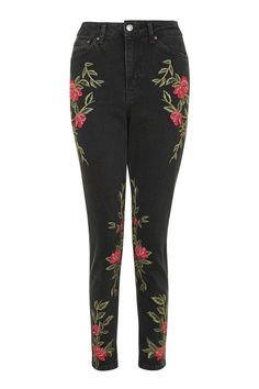 PETITE Rose Embroidered Mom Jeans