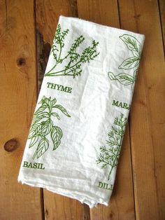 Tea Towel   Screen Printed Organic Cotton List Of Herbs Flour Sack Towel    Awesome Kitchen Towel For Dishes