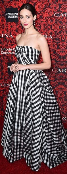 Who made Emmy Rossum's jewelry and white plaid strapless gown?