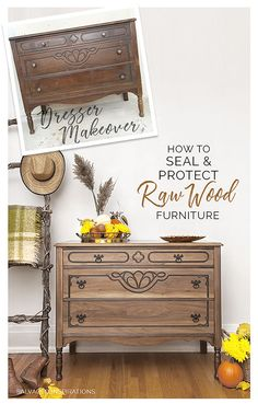 Raw Wood Dresser Makeover How To Seal & Protect is part of Wood dressers makeover - Although I love the look of raw or unfinished wood furniture, I'm not convinced it can be left unprotected Here are some tips on how to seal and topcoat Unfinished Wood Furniture, Natural Wood Furniture, Furniture Fix, Refurbished Furniture, Repurposed Furniture, Rustic Furniture, Furniture Making, Furniture Design, Modern Furniture