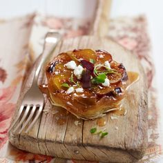 Fig & Goats Cheese Tarte Tatin Recipe - Woman And Home Fig And Goats Cheese Tart, Chevre Cheese, Cheese Tarts, Butter Puff Pastry, Fig Tart, Thing 1, Cheese Dishes, Savory Tart, French Food