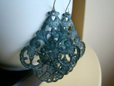 Teal Blossom large lucite  chandelier earrings with by ILoveJeans, $24.00