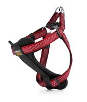 This Ruby Red Reflective Dog Harness is perfect for a stroll in the park. A harness allows for smooth redirection without harming your dog.
