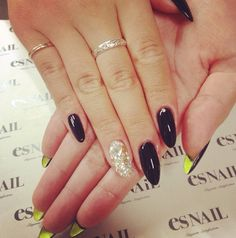 Black With Glitter And A Yellow Under Nail Color Es Nails Dope