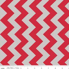 Riley Blake Designs - Chevron - 58 Wide - Medium Chevron in Red and Gray