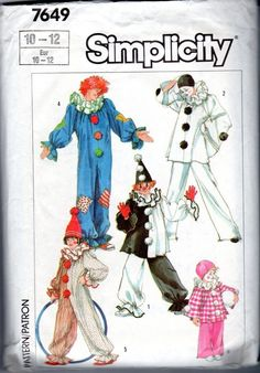Simplicity 7649 Clown Alley Halloween Costumes Kids 10 - 12 Sewing Pattern #Simplicity