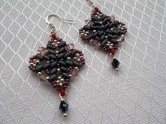 Beaded Earrings Silver 925 Jeans Roz Swarovski - MichaelaBijoux | Crafty