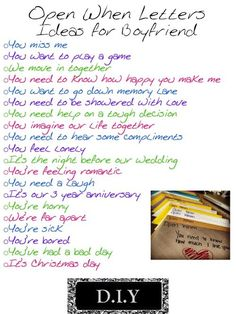 """Open When..."" Letters. I really want to do this for Aaron. <3"