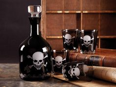 I've just found Black Skull Glass Decanter And Tumblers. This fun glass decanter has a skull & crossbones design etched in white. Size : tall x dia. Skull Decor, Skull Art, Curiosity Shop, Gothic House, Skull And Crossbones, Skull And Bones, Decanter, Tumblers, Favorite Holiday