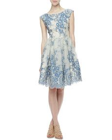 Alice Olivia Fila Lace overlay dress. Perfect for a spring wedding!