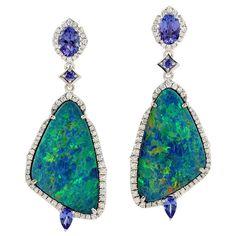 Black Opal Jewelry, White Gold Jewelry, Eye Jewelry, Jewellery, Bohemian Jewelry, Vintage Jewelry, Diamond Dangle Earrings, Jewels, Fuzzy Chair