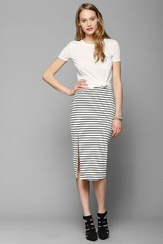 striped midi skirt with double slit