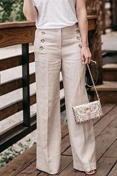 Office Ladies, Linen Pants, Pants Outfit, Types Of Fashion Styles, Wide Leg Pants, Summer Outfits, Work Outfits, Summer Clothes, Pretty Outfits