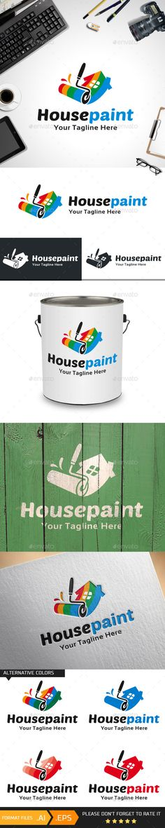 House Paint Logo Design Template Vector #logotype Download it here:  http://graphicriver.net/item/house-paint-logo-template/10444030?s_rank=1669?ref=nesto