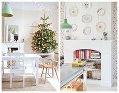 Decoración de Navidad en colores pasteles. Bookcase, Shelves, Christmas, Home Decor, Environment, Home, Vintage Decor, Christmas Decor, Wall Papers