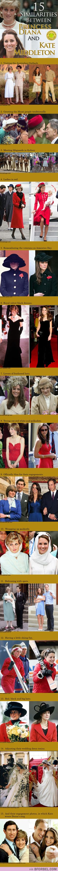 15 Similarities Between Princess Diana And Kate Middleton. I don't think it's just coincidence - William would naturally choose someone so similar. Duchess Kate and princess Diana style. Princesa Diana, Prince William And Kate, William Kate, Duchess Kate, Duchess Of Cambridge, Princesa Kate Middleton, Herzogin Von Cambridge, Prinz William, Prinz Harry