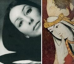 """Vogue December 1971    """"In celebration of Iran's 125th anniversary,"""" Vogue took inspiration from the frescoes of the 17th century Ali Qapu (or the Gate of God) in Isfahan, by juxtaposing Persian ideals of beauty next to the reigning stars of the day: French actress Dominique Sanda, Cher, and Vanessa Redgrave."""