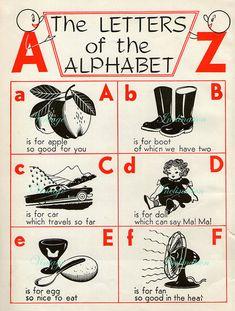 1940s Delightful Nursery ALPHABET Book Plate ABC chart