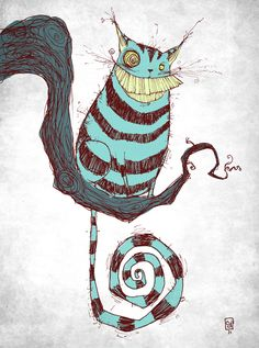 A Skottie Young fan art illustration of the Cheshire cat's toothy grin from Alice in Wonderland