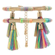 Forever21 Tassel Snake Chain Bracelet Set ($11) ❤ liked on Polyvore featuring jewelry, multicolor jewelry, polish jewelry, colorful jewelry, tri color jewelry and multi color jewelry