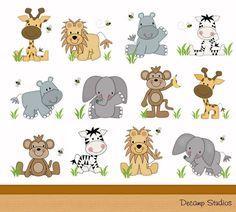 SAFARI ANIMAL DECALS Baby Nursery Kids Jungle Room Wall Art Mural Sticker Room Decor -  Zebra Elephant Lion Giraffe Monkey Hippo
