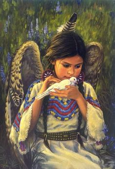 """Messenger Of Peace"" (Copyright 2014 ), By Karen Noles (b. Oil on Canvas, Private Collection.The Western and Native American Fine Art of Karen Noles. Native American Children, Native American Art, American Indians, Graffiti Kunst, Art Magique, I Believe In Angels, Angel Pictures, Angels Among Us, American Indian Art"