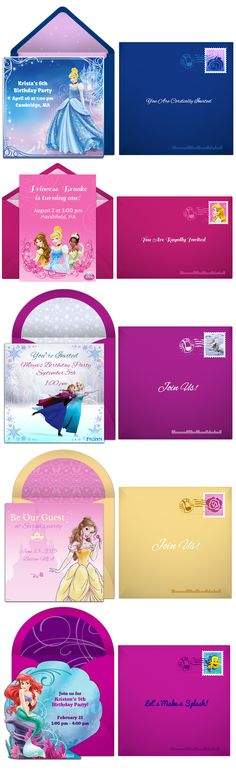 Paper invites are too formal, and emails are too casual. Get it just right with online invitations from Punchbowl. We've got everything you need for your Disney Princess party.  http://www.punchbowl.com/invitations/category/disney-collection/?utm_source=Pinterest&utm_medium=9.14P