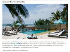 Karmairi Hotel Spa in Cartagena, Colombia, is an intimate beach resort and spa hidden down a dirt path in the fishing village of Manzanillo del Mar, 15 minutes by taxi north of Cartagenas old walled city. Beach Hotels, Beach Resorts, Hotels And Resorts, Unique Hotels, Beautiful Hotels, Great Hotel, Hotel Spa, Cool Pools, Places Around The World
