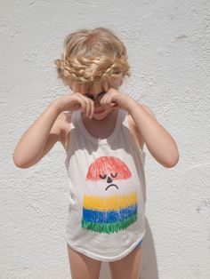 This frowny face is so silly it actually makes me smile |  illustrated tank top  |  #KidsClothing
