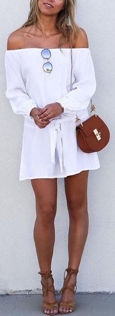 #summer #cool #outfits |  Off The Shoulder Little White Dress