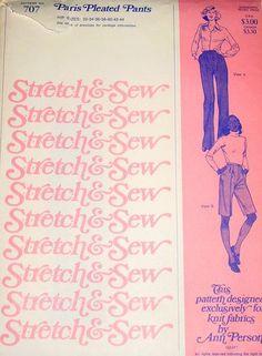Stretch & Sew 707 Ladies Paris Pleated Pants Sewing Pattern Hip Size 32-34-36-38-40-42-44 Vintage 1970s Stretch & Sew http://www.amazon.com/dp/B00CQTIC2G/ref=cm_sw_r_pi_dp_plgQtb02JCW1J2Z9