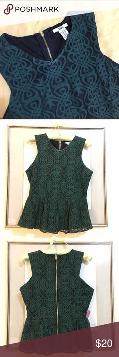 Bar III Peplum top Flattering Bar III peplum top. Green lace embroidered over black. Size M. 60% cotton, 40% nylon lining. Bar III Tops Tunics