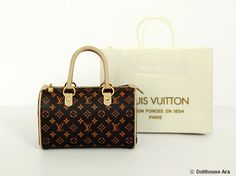 Dollhouse Miniatures (L1) LV Designer Handbags 1/12 handmade Bag. $43.00, via Etsy.