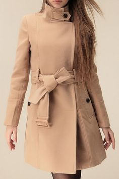 ROMWE Belted Pocketed Zippered Long Sleeves Camel Coat
