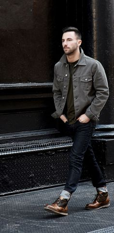 Men'S fashion styling with a grey jacket and cuffed dark denim jeans. paired with tan worker boot by bedstu. Dark Jeans Outfit, Dark Denim Jeans, Denim Jacket Men, Gray Jacket, Denim Jackets, Denim Outfit, Leather Jackets, Jackets For Men, Jean Jackets