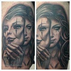 Arm Mask Women Portrait Tattoo by Steve Soto