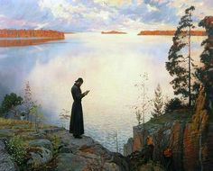 Orthodox monk prays in the beautiful nature!