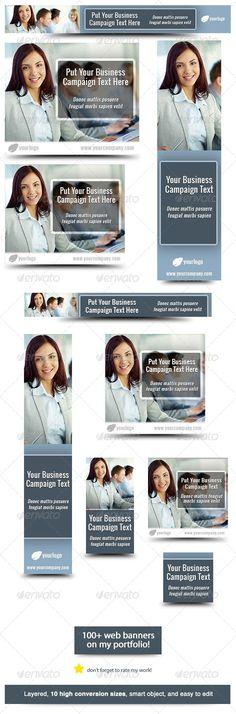 Buy Business Banner Design Template 3 by admiral_adictus on GraphicRiver. Business – Banner Design Template Use this web banner design template for any business campaign. Web Banner sizes The. Online Advertising, Advertising Campaign, Google Banner, 404 Pages, Pose, Web Banner Design, Banner Template, Marketing, Modern