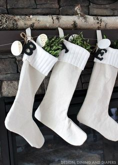 Modern Farmhouse Drop Cloth Stockings with Sweater Cuff
