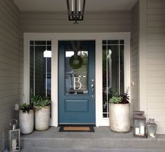 Front Door Paint Colors - Want a quick makeover? Paint your front door a different color. Here a pretty front door color ideas to improve your home's curb appeal and add more style! Exterior Paint Colors For House, Paint Colors For Home, Paint Colours, Beige House Exterior, Blue Colors, Exterior Shutters, Outside House Paint Colors, Front Door Paint Colors, Black Shutters