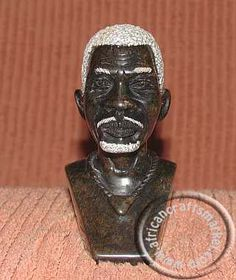 An African Hand carved bust of an old Shona man from Zimbabwe. The Shona carving has the man with beads around his neck , white hair and a white goatee Soapstone, Stone Carving, Thesis, Young Women, Hand Carved, African, Statue, Beads, Art