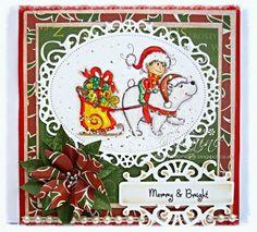 Dream Laine: Christmas Elf - The Paper Shelter.   Spectrum Noir markers used: Bear and detail:  BG1, BG3, BG4, BG5  plus Blender Pen Bear hat:  TN3, TN8 Elf face:  FS2, FS5, TN2, CR1 Trousers:  LG1, LG2, LG3, JG1, JG2 Top, hat, reins, sleigh:  CR7, C8, CR9, CR10, CR11 Sleigh:  CT1, CT2, CT3, CT4